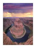 Storm clouds over the Colorado River at Horseshoe Bend near Page, Arizona Posters by Tim Fitzharris
