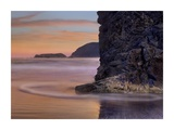 Barnacle-covered seastack at sunset, Pistol River Beach, Oregon Art by Tim Fitzharris