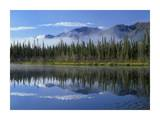 Lake reflecting mountain range and forest, Kluane National Park, Yukon, Canada Prints by Tim Fitzharris