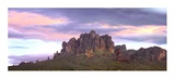 Panoramic view of the Superstition Mountains at sunset, Arizona Posters by Tim Fitzharris