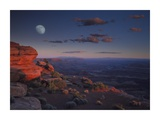 Moon over Canyonlands National Park from Green River Overlook, Utah Prints by Tim Fitzharris
