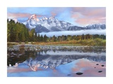 Grand Tetons reflected in lake, Grand Teton National Park, Wyoming Print by Tim Fitzharris