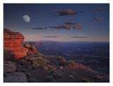 Moon over Canyonlands National Park from Green River Overlook, Utah Posters by Tim Fitzharris