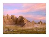 Sandstone striations and erosional features, Badlands National Park, South Dakota Poster by Tim Fitzharris