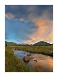 Sunset over river and peaks in Moraine Park, Rocky Mountain National Park, Colorado Prints by Tim Fitzharris