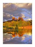 Cathedral Rock reflected in Oak Creek at Red Rock Crossing, near Sedona, Arizona Art by Tim Fitzharris