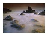 Sea stack and rocks along shoreline at Ruby Beach, Olympic National Park, Washington Print by Tim Fitzharris