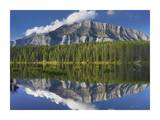 Mount Rundle and boreal forest reflected in Johnson Lake, Banff National Park, Alberta, Canada Art by Tim Fitzharris