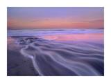 Fresh water stream flowing into the Pacific Ocean, Zuma Beach, Malibu, California Print by Tim Fitzharris