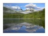 Fortress Mountain shrouded in clouds, reflected in lake, Kananaskis Country, Alberta, Canada Posters by Tim Fitzharris