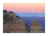 Tourists enjoying sunset and rising full moon at Yaki Point, Grand Canyon National Park, Arizona Art by Tim Fitzharris