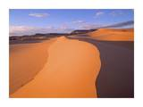 Wind ripples in sand dunes beneath sandstone cliffs, Coral Pink Sand Dunes State Park, Utah Prints by Tim Fitzharris