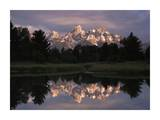 Grand Teton Range and cloudy sky at Schwabacher Landing, Grand Teton National Park, Wyoming Print by Tim Fitzharris