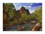 Mt. Spry with the Virgin River surrounded by Cottonwood trees, Zion National Park, Utah Print by Tim Fitzharris