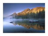 Teewinot Mountain reflected in misty lake, Grand Teton NP, Wyoming Posters by Tim Fitzharris