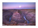 Moon over San Juan River flowing through Goosenecks, Utah Art by Tim Fitzharris