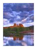 Cathedral Rock reflected in Oak Creek at Red Rock Crossing, Arizona Print by Tim Fitzharris