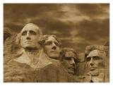 Mount Rushmore National Monument, South Dakota - Sepia Poster by Tim Fitzharris