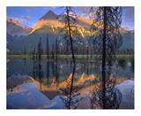 Chancellor Peak reflected in lake, Yoho National Park, BC, Canada Print by Tim Fitzharris