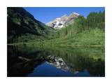 Maroon Bells at Maroon Lake with Cottonwood trees, Colorado Posters by Tim Fitzharris