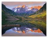 Maroon Bells peaks reflected in Maroon Lake, Snowmass Wilderness, Colorado Posters by Tim Fitzharris