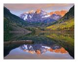 Maroon Bells peaks reflected in Maroon Lake, Snowmass Wilderness, Colorado Art by Tim Fitzharris