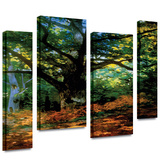 Bodmer at Oak at Fountainbleau 4 piece gallery-wrapped canvas Stretched Canvas Print by Claude Monet