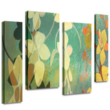 Shadow Florals 4 piece gallery-wrapped canvas Stretched Canvas Print by Jan Weiss