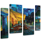 Café Terrace at Night 4 piece gallery-wrapped canvas Stretched Canvas Print by Vincent van Gogh