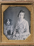Young Girl with a King Charles Spaniel Photographic Print