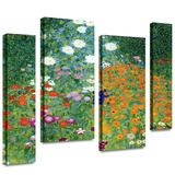 Farm Garden 4 piece gallery-wrapped canvas Stretched Canvas Print by Gustav Klimt