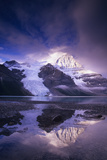 Berg Lake at Dawn: the Berg Glacier Tumbles down the North Face of 3954Metre/12969 Ft Mount Robson, Photographic Print by Chris Jaksa