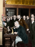 Alexander Graham Bell Making Telephone Call Photographic Print by Stefano Bianchetti