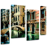 Venice Canal 4 piece gallery-wrapped canvas Stretched Canvas Print by George Zucconi