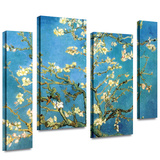 Almond Blossom 4 piece gallery-wrapped canvas Stretched Canvas Print by Vincent van Gogh