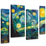 Starry Night 4 piece gallery-wrapped canvas Stretched Canvas Print by Vincent van Gogh