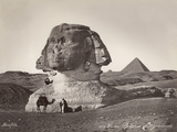 Egyptian Men with Camel at Sphinx Photographic Print
