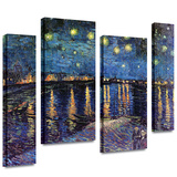 Starry Night over the Rhone 4 piece gallery-wrapped canvas Stretched Canvas Print by Vincent van Gogh