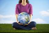 Woman Holding Earth in Her Lap Photographic Print by Lew Robertson