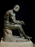 Defeated Boxer Resting after a Fight - Bronze Sculpture Photographic Print