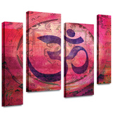 Om Mandala 4 piece gallery-wrapped canvas Stretched Canvas Print by Elena Ray