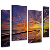 The Sunset 4 piece gallery-wrapped canvas Stretched Canvas Print by David Liam Kyle