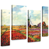 Windmill 4 piece gallery-wrapped canvas Stretched Canvas Print by Claude Monet