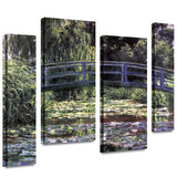 Bridge at Sea Rose Pond 4 piece gallery-wrapped canvas Prints by Claude Monet