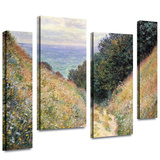 Footpath 4 piece gallery-wrapped canvas Stretched Canvas Print by Claude Monet