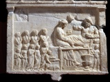 Ancient Greek Marble Relief Depicting a Banquet Photographic Print