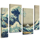 The Great Wave Off Kanagawa 4 piece gallery-wrapped canvas Gallery Wrapped Canvas by Katsushika Hokusai