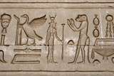 Ancient Egyptian Hieroglyphs Carved on the Wall of Hathor Temple Photographic Print