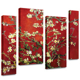 Interpretation in Red Almond Blossom 4 piece gallery-wrapped canvas Stretched Canvas Print by Vincent van Gogh