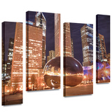 Chicago- The Bean I 4 piece gallery-wrapped canvas Stretched Canvas Print by Dan Wilson